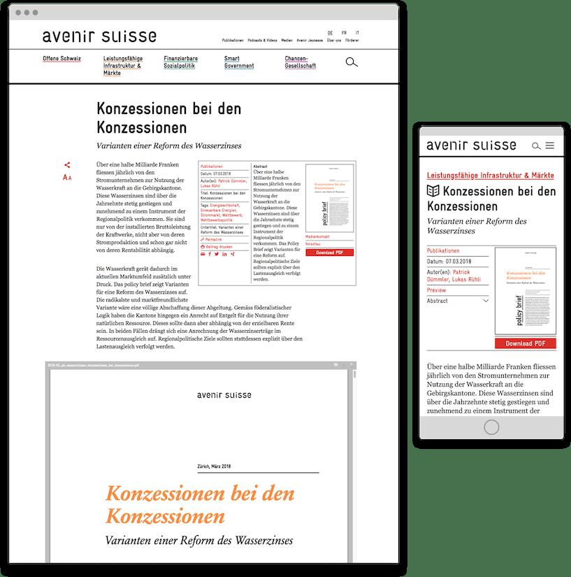 Avenir Suisse Publikationen